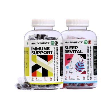 Healthyments Immunity & Mind Care Combo Pack of Sleep Revital Gummies Strawberry & Immune Support Gummies Black Currant (60 Each)