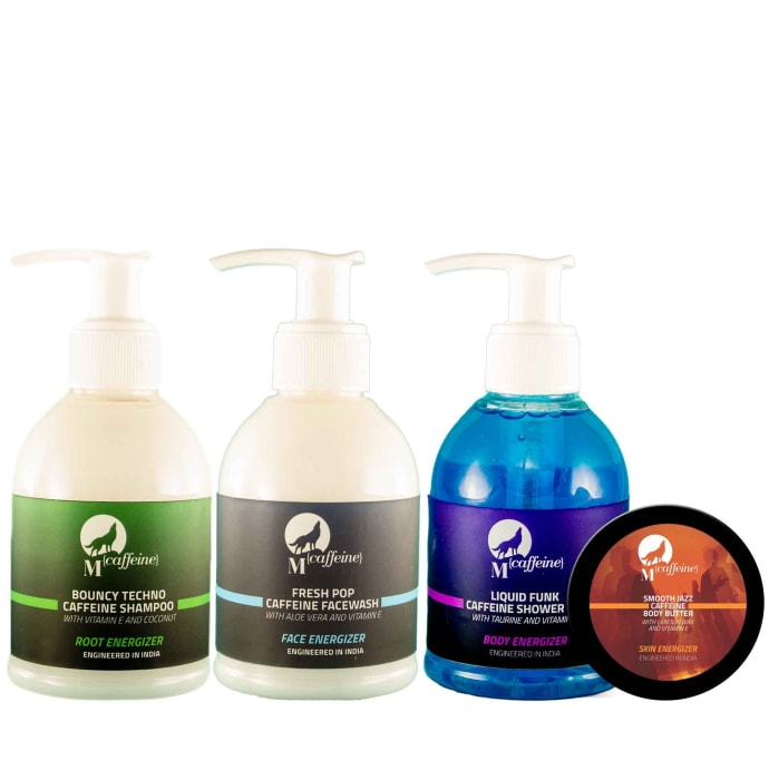 Mcaffeine Head-to-Toe Charger (Shower Gel 150Ml, Shampoo 150Ml, Body Butter 50Ml, Face Wash 150ml) Pack