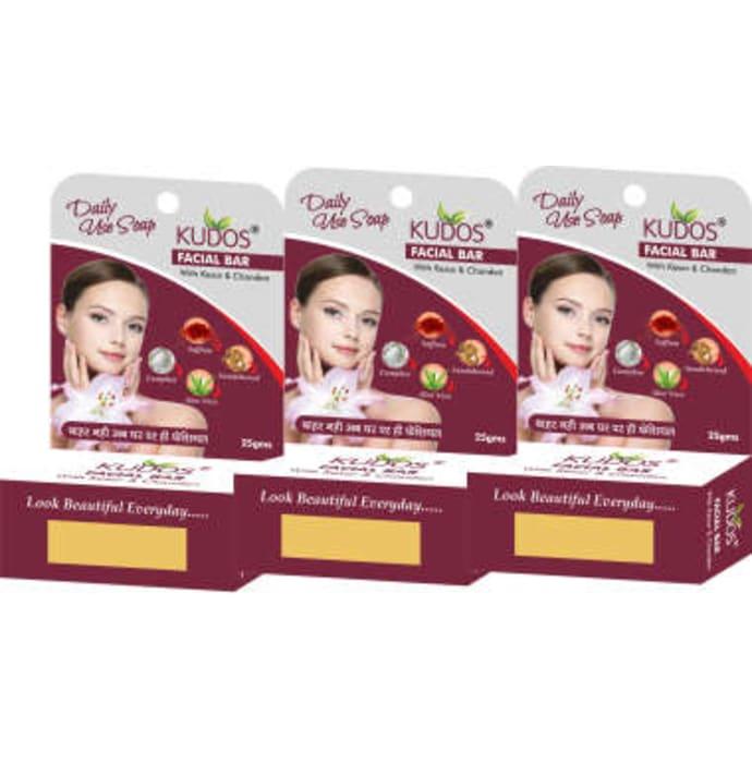 Kudos Facial Bar with Kesar & Chandan Pack of 3
