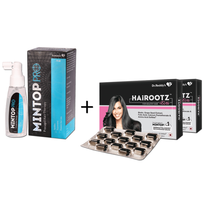 Dr Reddy's Combo pack of Mintop Pro Lotion + Hairootz Eva Soft Gelatin Capsule