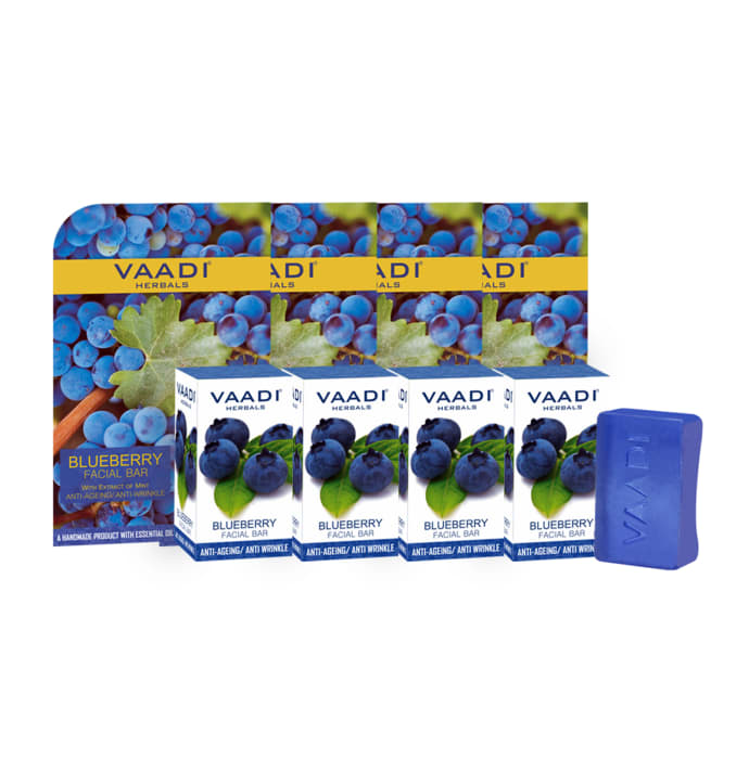 Vaadi Herbals Value Pack of 4 Blueberry Facial Bars With Extract of Mint (25gm Each)