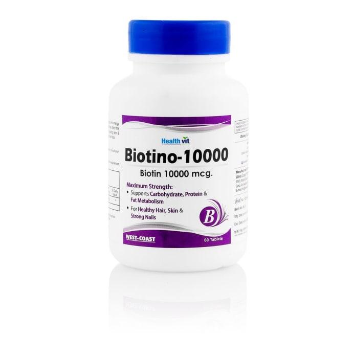 HealthVit Biotino-10000 Biotin 10,000mcg Maximum Strength Tablet for Hair, Skin & Nails