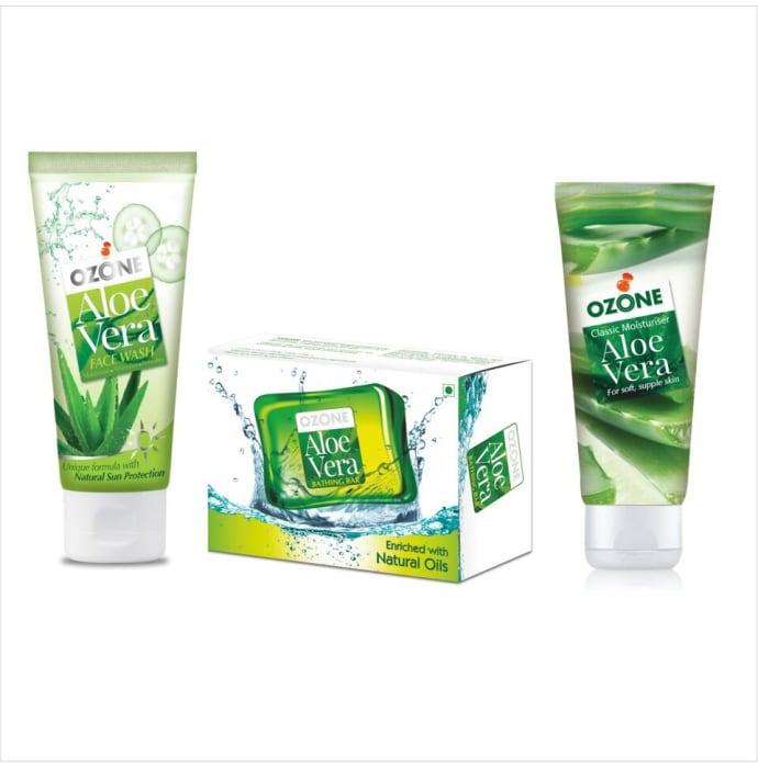 Ozone Combo Pack of Aloevera Face Wash, Aloevera Bathing Bar and Aloevera Classic Moisturiser