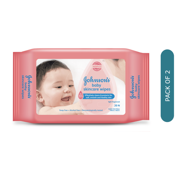 Johnsons Baby Skincare  Wipes Pack of 2