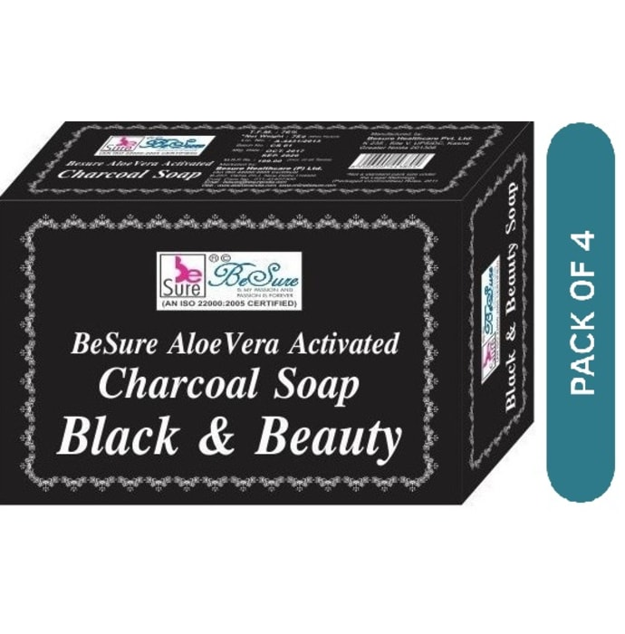 BeSure AloeVera Activated Charcoal Soap Pack of 4