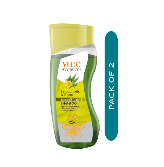 VLCC Ayurveda Lemon, Tulsi & Neem Dandruff Control Shampoo Pack of 2