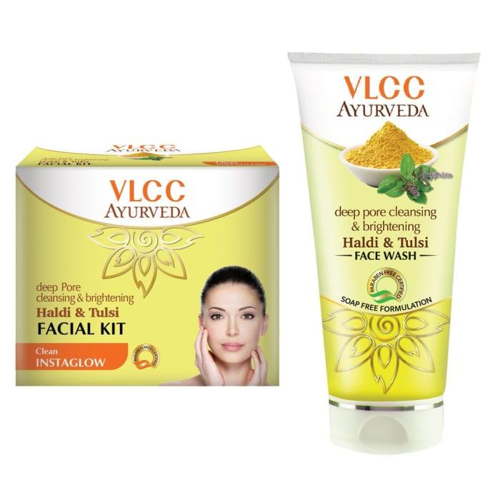 VLCC Combo of Ayurveda Haldi Tulsi Facial Kit & Haldi Tulsi Face Wash