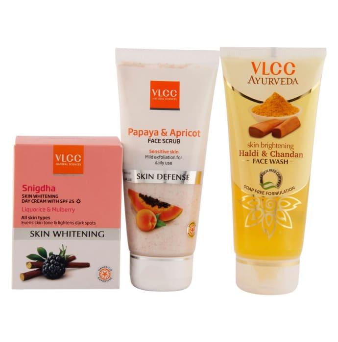 VLCC Combo of Snigdha Day Cream (50gm), Papaya & Apricot Face Scrub (80gm) and Haldi Chandan Face Wash (100ml)