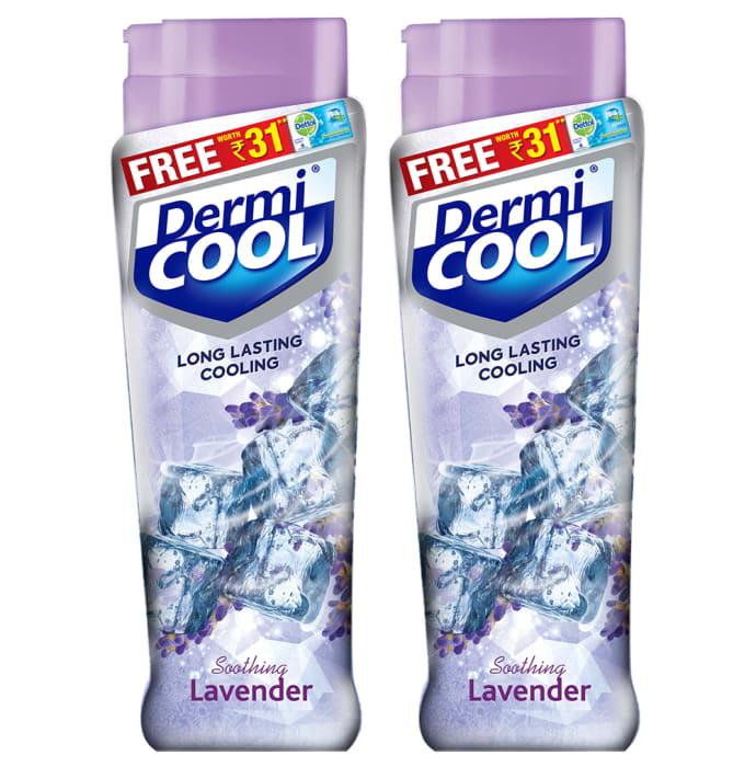 Dermicool Prickly Heat Powder 150gm (With Free Dettol Cool Soap 75gm) Lavender Pack of 2