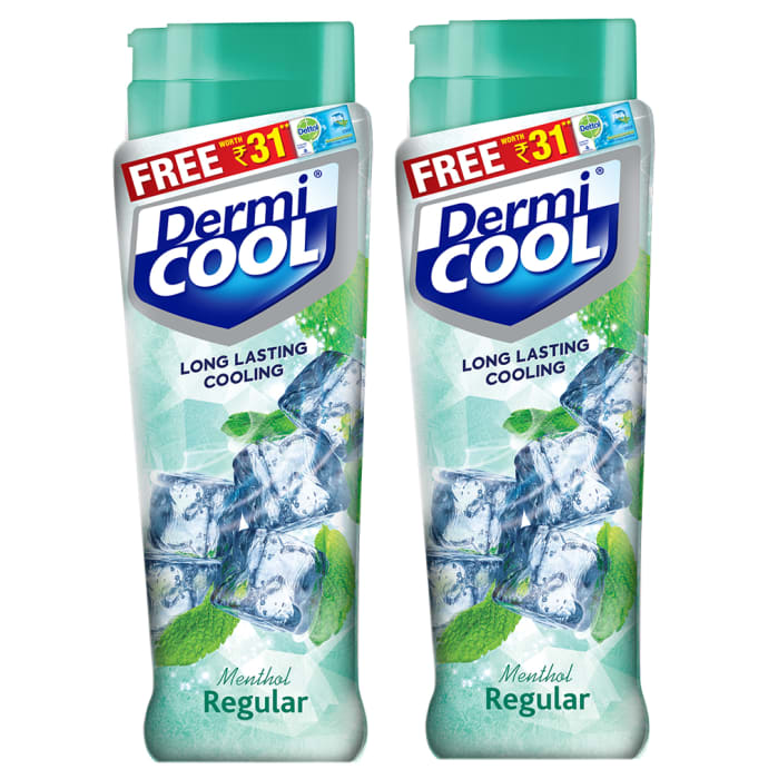 Dermicool Prickly Heat Powder 150gm (With Free Dettol Cool Soap 75gm) Menthol Pack of 2