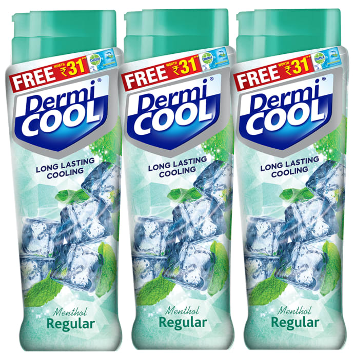 Dermicool Prickly Heat Powder 90gm (With Free Dettol Cool Soap 75gm) Regular Pack of 3