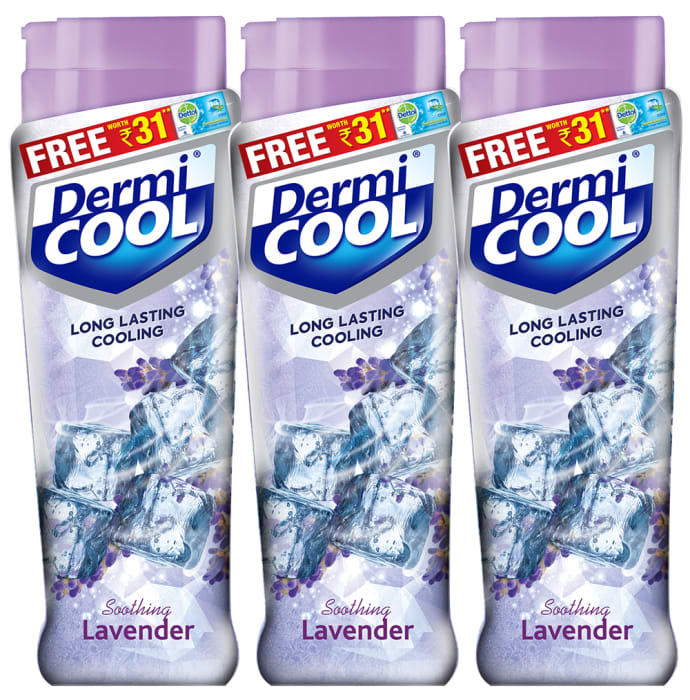 Dermicool Prickly Heat Powder 90gm (With Free Dettol Cool Soap 75gm) Lavender Pack of 3