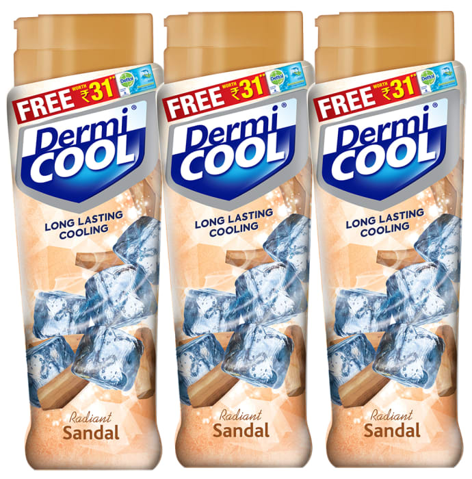 Dermicool Prickly Heat Powder 90gm (With Free Dettol Cool Soap 75gm) Sandal Pack of 3