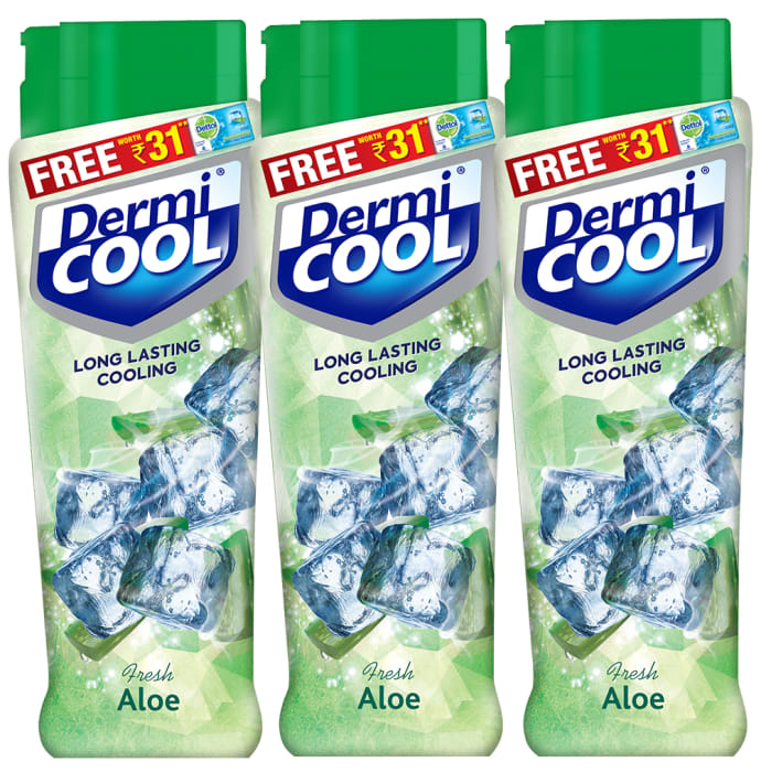Dermicool Prickly Heat Powder 90gm (With Free Dettol Cool Soap 75gm) Fresh Aloe Pack of 3