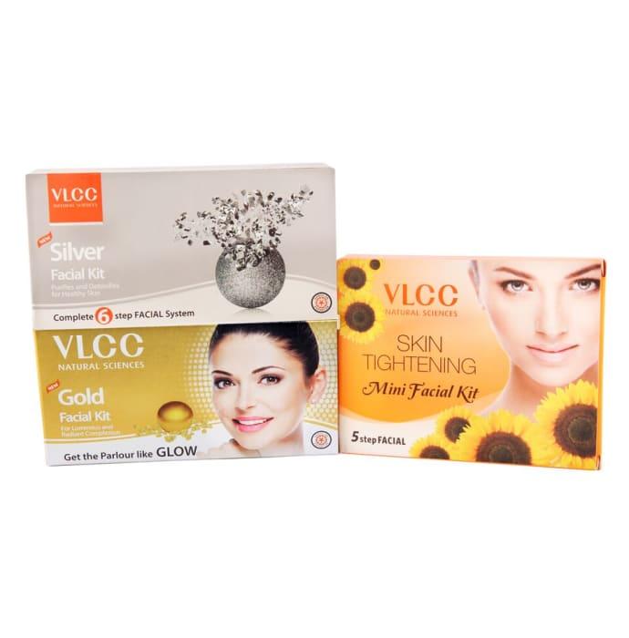 VLCC Combo of Gold Facial Kit (50gm), Silver Facial Kit (60gm) and Skin Tightening Mini Facial Kit (25gm)