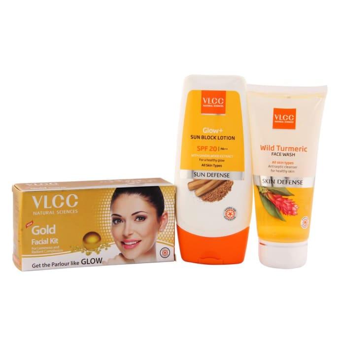 VLCC Combo of Gold Facial Kit (60gm), Sun Block Lotion (100gm) and Wild Turmeric Face Wash (80ml)