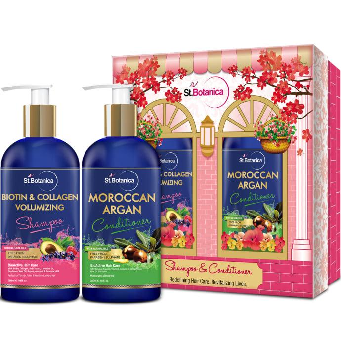 St.Botanica Combo of Biotin & Collagen Volumizing Shampoo 300ml and Moroccan Argan Conditioner 300ml