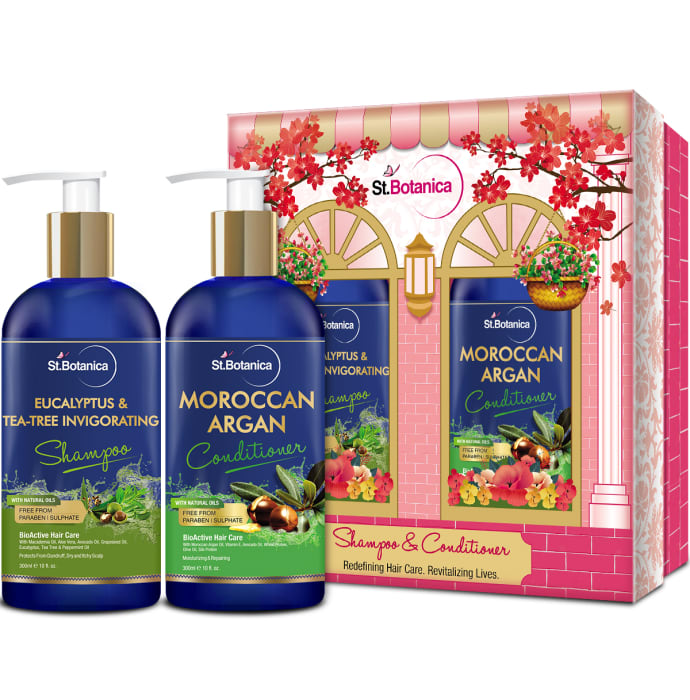 St.Botanica Combo of Eucalyptus & Tea Tree Invigorating Shampoo 300ml and Moroccan Argan Conditioner 300ml