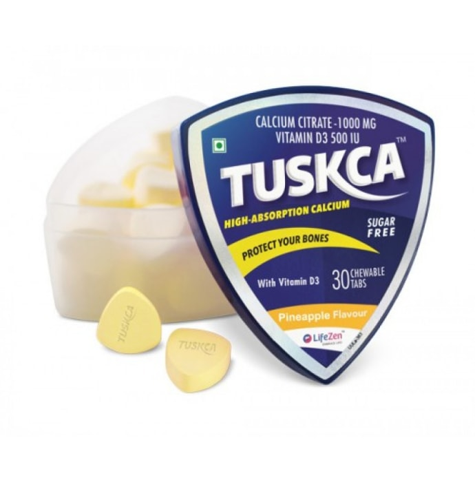 Tuskca Calcium with Vitamin D3 Sugar Free Chewable Tablet Pineapple