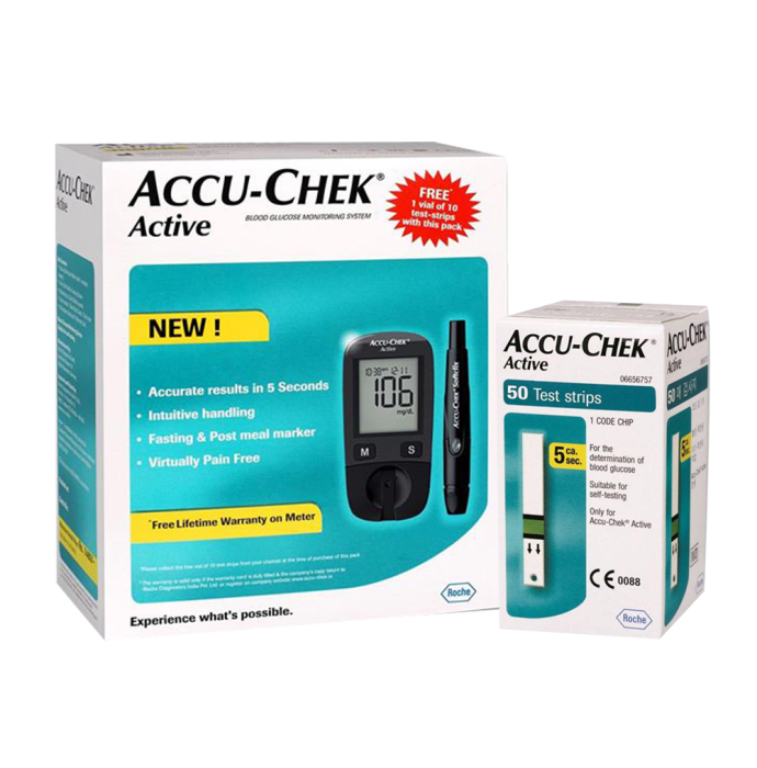 Accu-Chek Active Glucometer Kit with 50 extra Active Strips