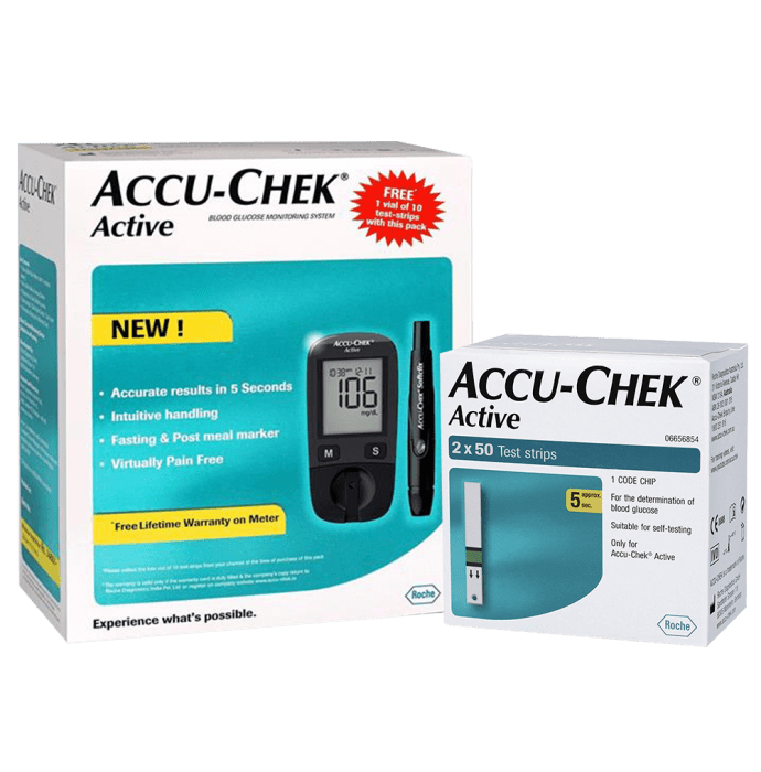 Accu-Chek Active Glucometer Kit with 100 extra Active Strips