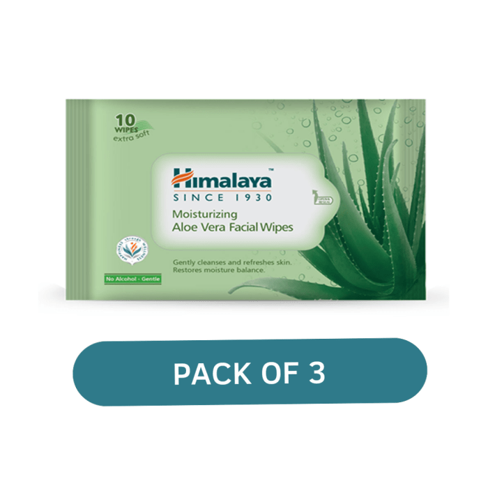 Himalaya Personal Care Moisturizing Aloe Vera Facial Wipes Pack of 3