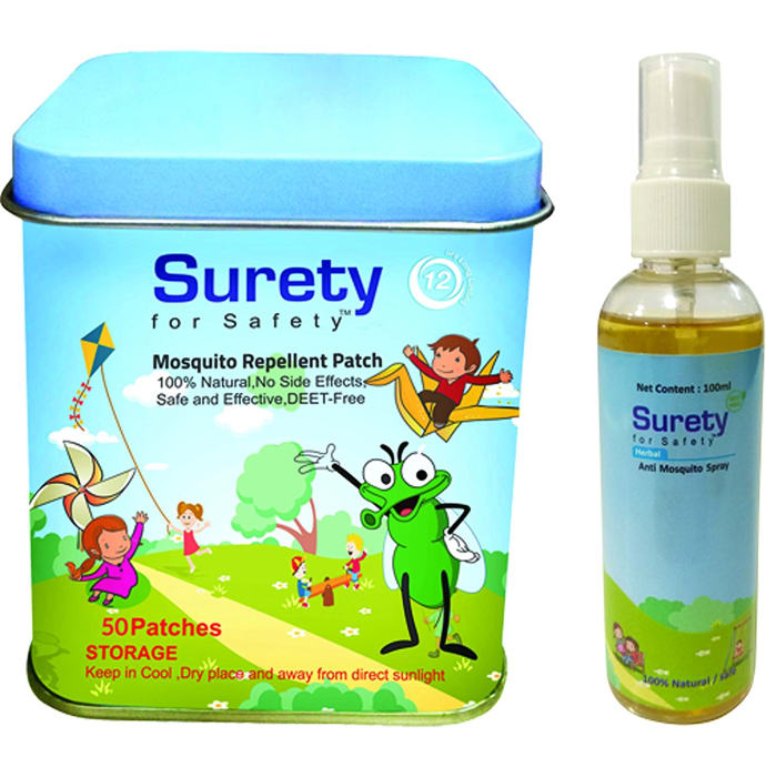Surety for Safety Combo Pack of Mosquito Repellent Patch 50 + Anti Mosquito Spray 100ml