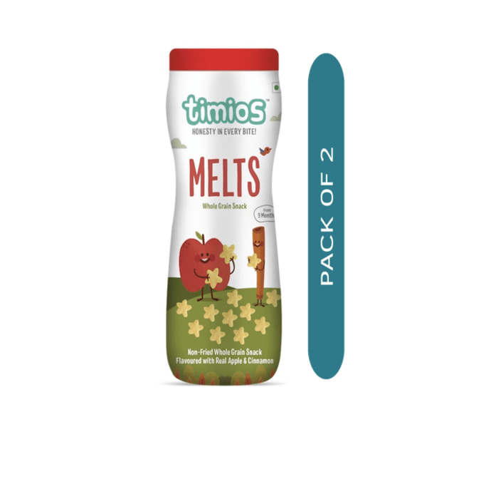 Timios MELTS Apple & Cinnamon 9+ Months Non Fried Whole Grain Snacks Pack of 2