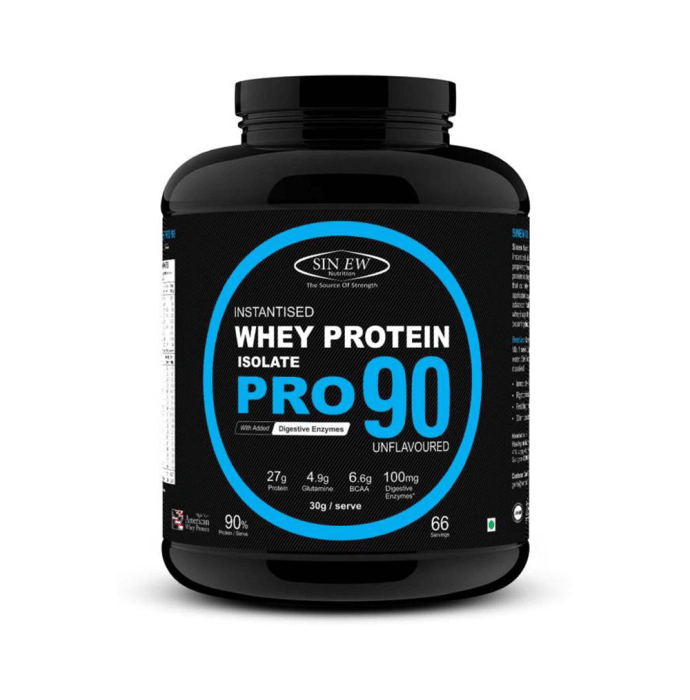 Sinew Nutrition Raw Whey Protein Isolate Pro 90% with Digestive Enzymes Unflavoured