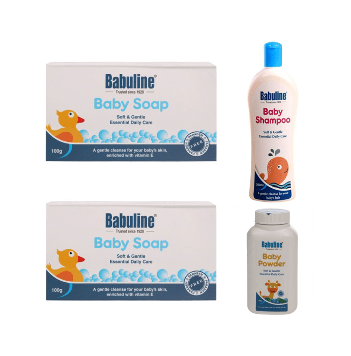 Babuline Combo Pack of Baby Soap 100gm (Pack of 2) & Baby Shampoo 200ml with Free Powder 50gm for Baby