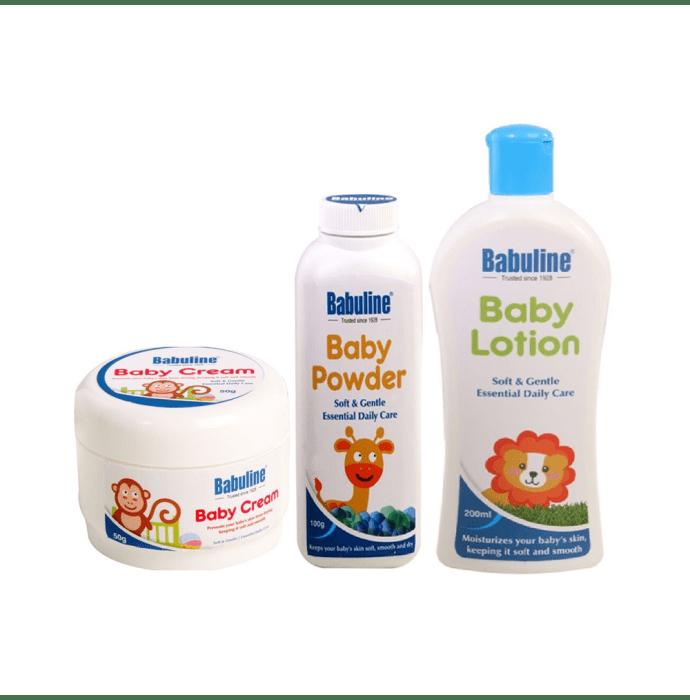 Babuline Combo Pack of Baby Cream 50gm+Baby Lotion 200ml+Baby Powder 50gm