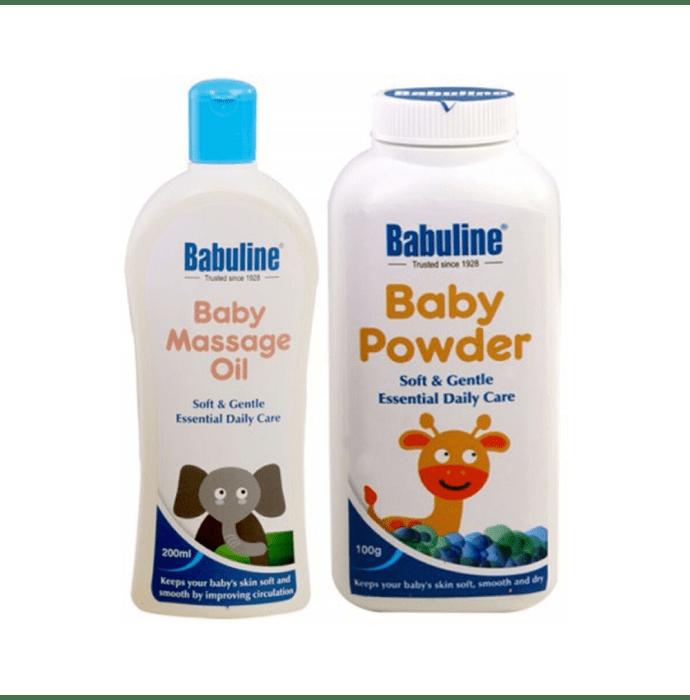 Babuline Combo Pack of Baby Powder 100gm & Baby Massage Oil 200ml