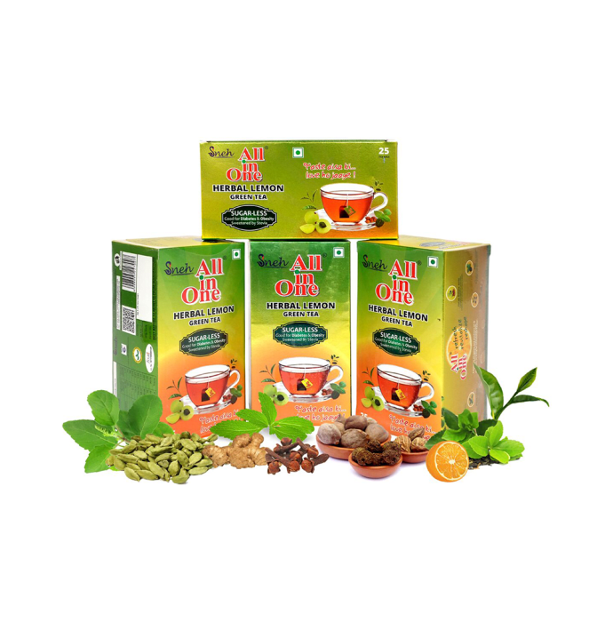 Sneh All in One Herbal Lemon Green Tea Sugar-Less