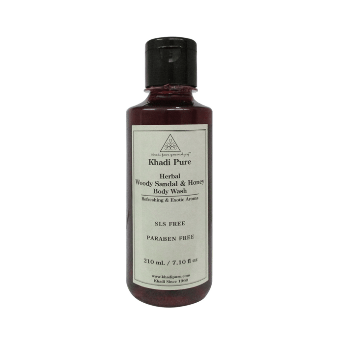 Khadi Pure Herbal Woody Sandal & Honey Body Wash SLS-Paraben Free