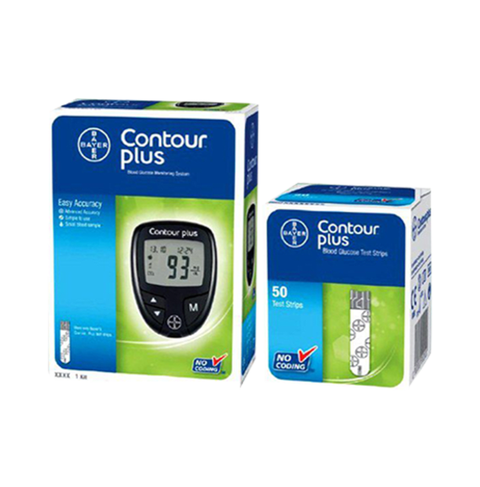 Bayer Contour Plus Glucometer with Free 50 Test Strip