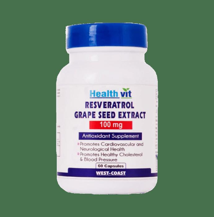 HealthVit Resveratrol, Grape Seed Extract  100mg Capsule
