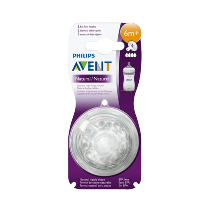 Philips Avent Natural Teat 4 Holes Fast Flow 6 months+