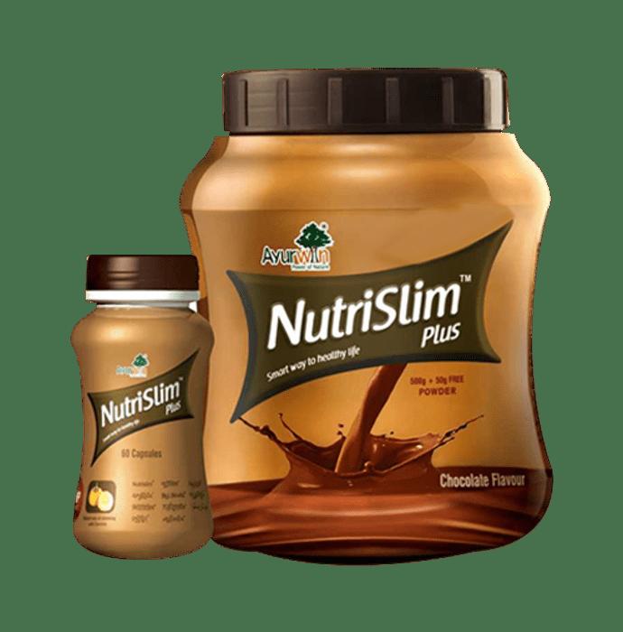 Ayurwin Combo Pack OF Nutrislim Plus, 60Caps & Nutrislim Plus Powder, 500gm (Chocolate)