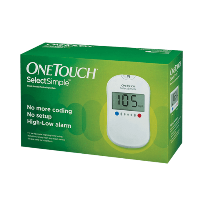 OneTouch Combo Pack of Select Simple Glucometer with 70 Free Test Strips