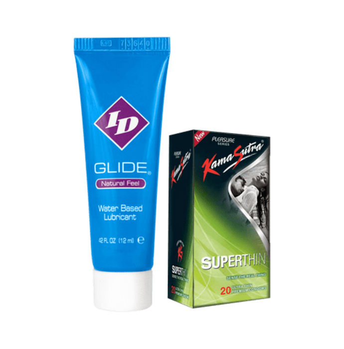 Kamasutra Combo Pack of ID Glide Water Based Lubricant 12 ml & KamaSutra Superthin Condom