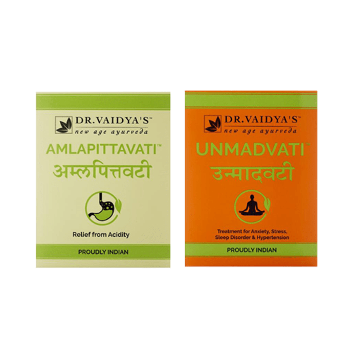 Dr. Vaidya's Acidity, Hypertension and Anxiety Pack- Ayurvedic Treatment for Hyperacidity (Peptic Ulcer)