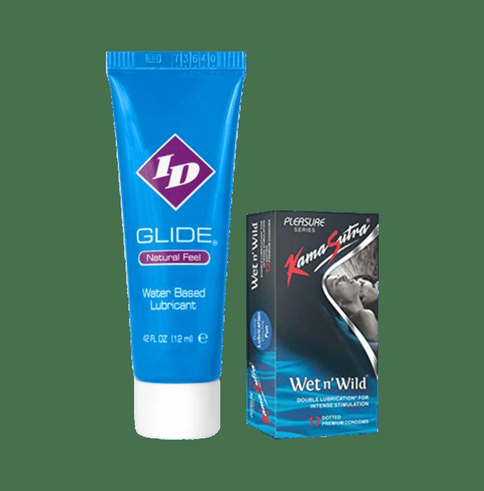 Kamasutra Combo Pack of ID Glide Water Based Lubricant 12 ml & KamaSutra Wet n' Wild Condom