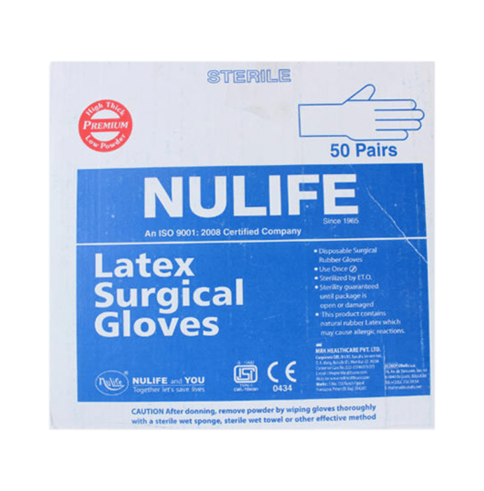 Nulife Sterile Powder Free Surgical Gloves 8.0