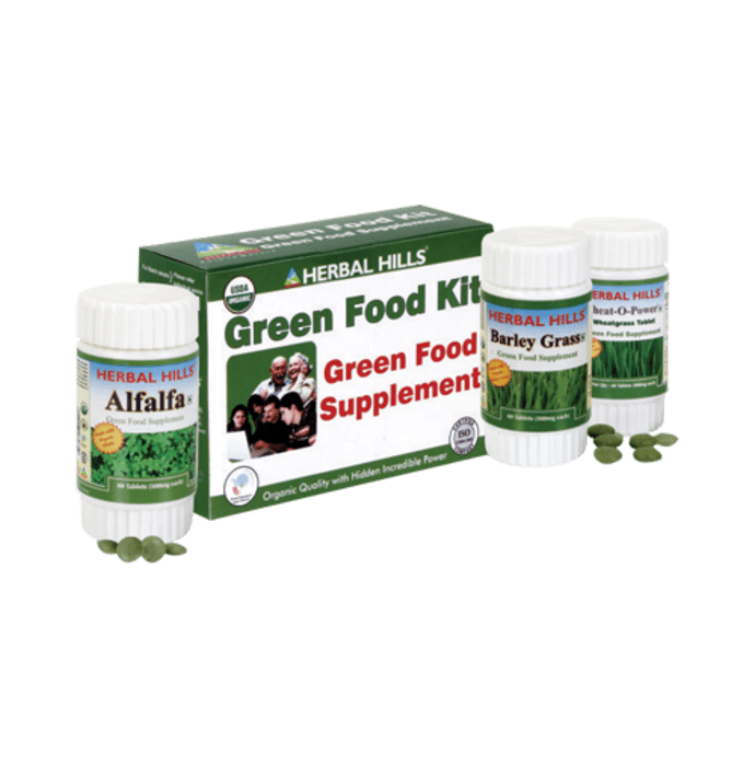 Herbal Hills Green Food Supplement Kit (Wheatgrass, Alfalfa, Barley Grass)