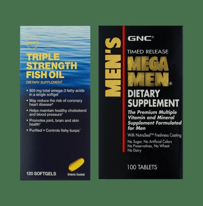 GNC Triple Strength Fish Oil Softgels with Mega Men Tablet