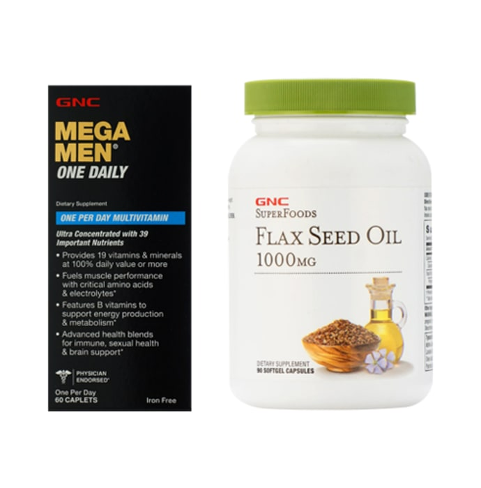 GNC Mega Men One Daily Tablet with Flaxseed Oil 1000mg Softgels