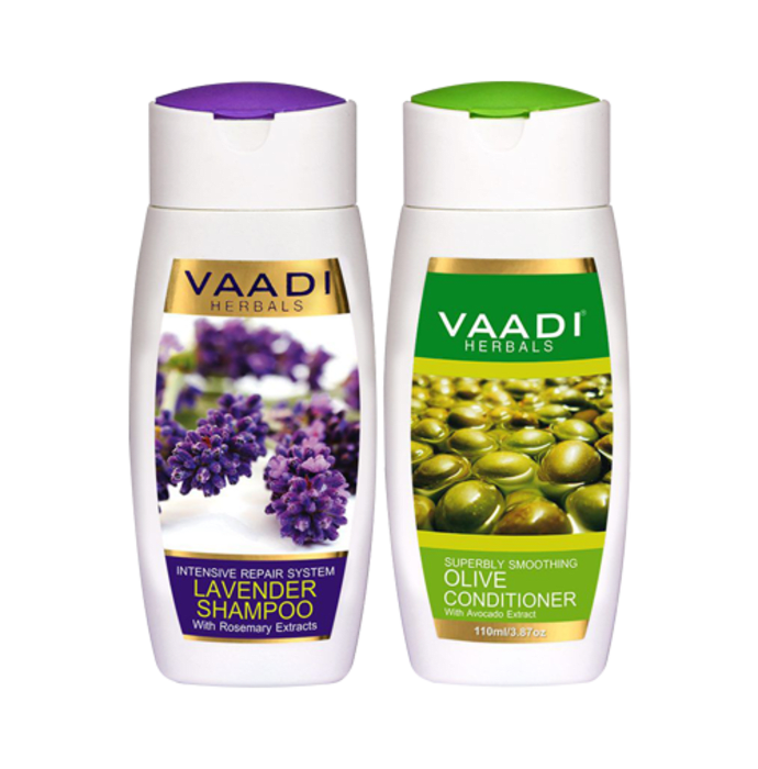 Vaadi Herbals Lavender Shampoo with Olive Conditioner (350ml Each)