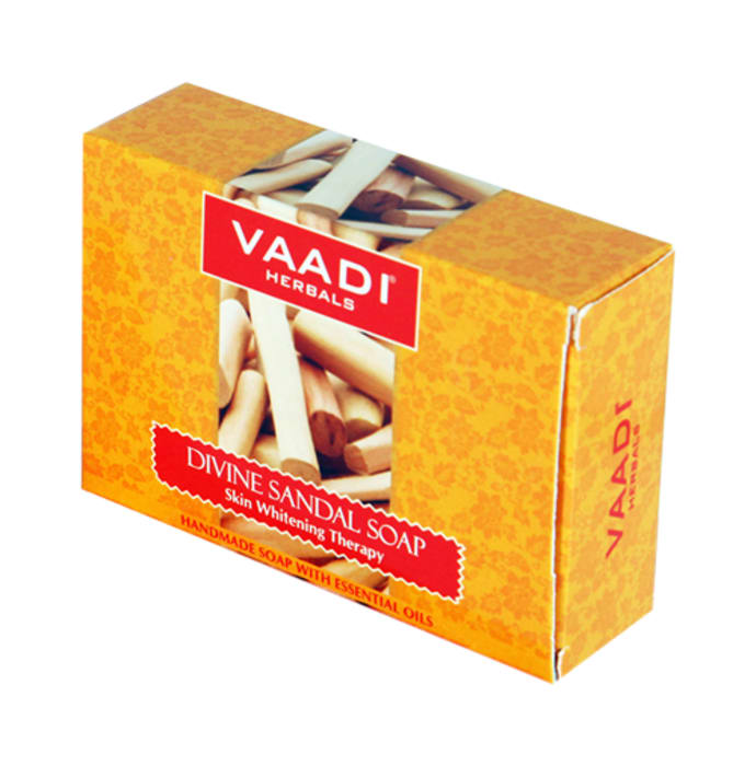 Vaadi Herbals Super Value Pack of 6 Divine Sandal Soap with Saffron & Turmeric (75gm Each)