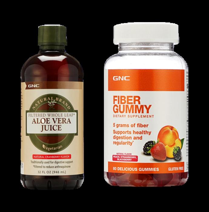 GNC Aloe Vera Juice Cranberry with Fiber Gummies Natural Flavour