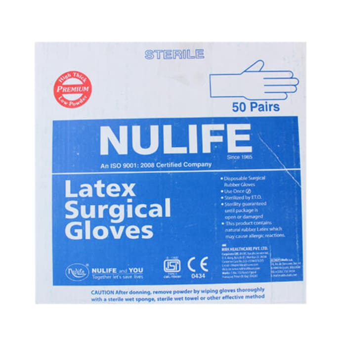 Nulife Sterile Powder Free Surgical Gloves 7.5